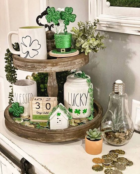 St. Patrick's Day Tiered Tray Ideas   French Creek Farmhouse