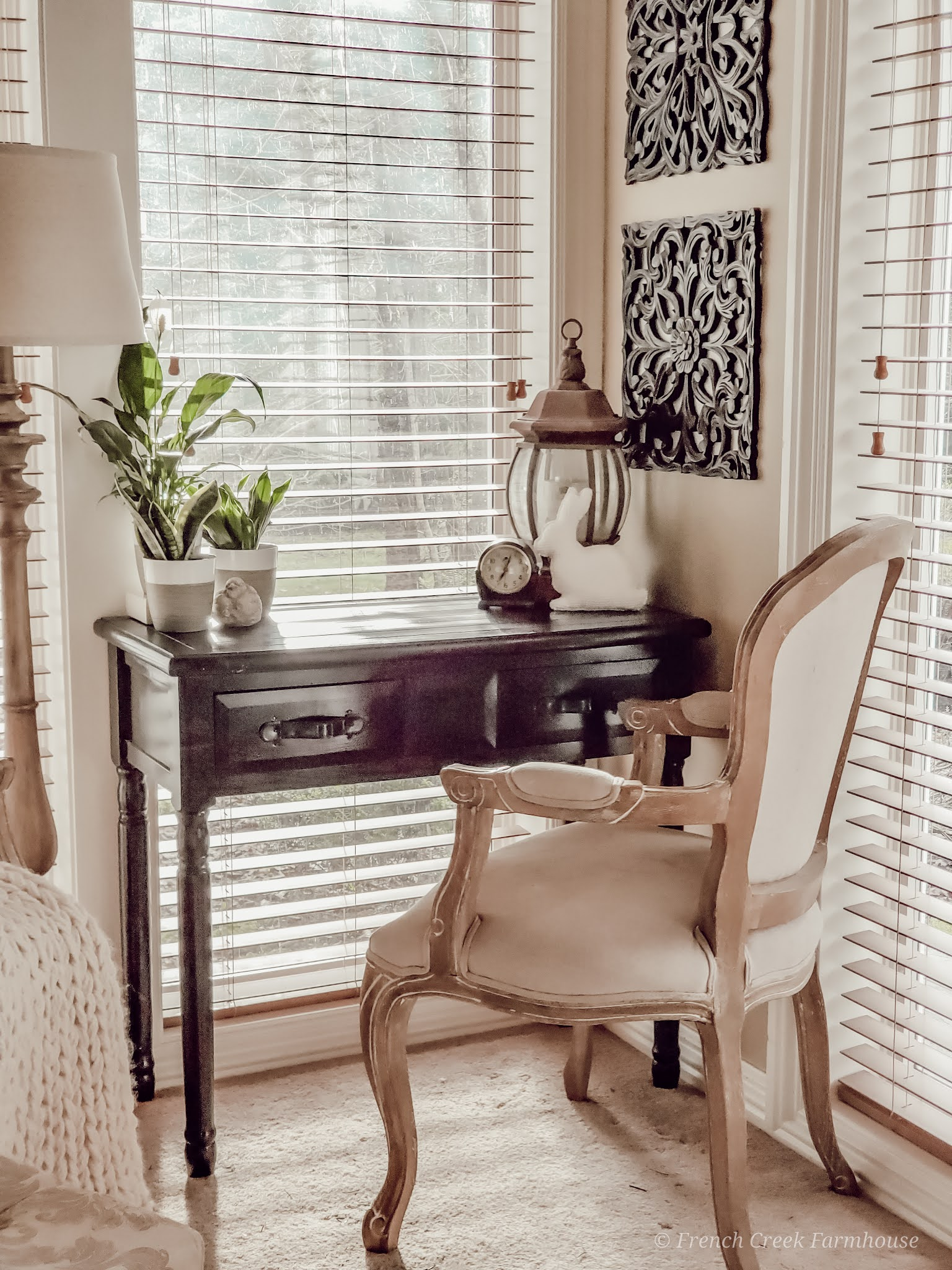 Modern farmhouse writing desk with French provincial chair