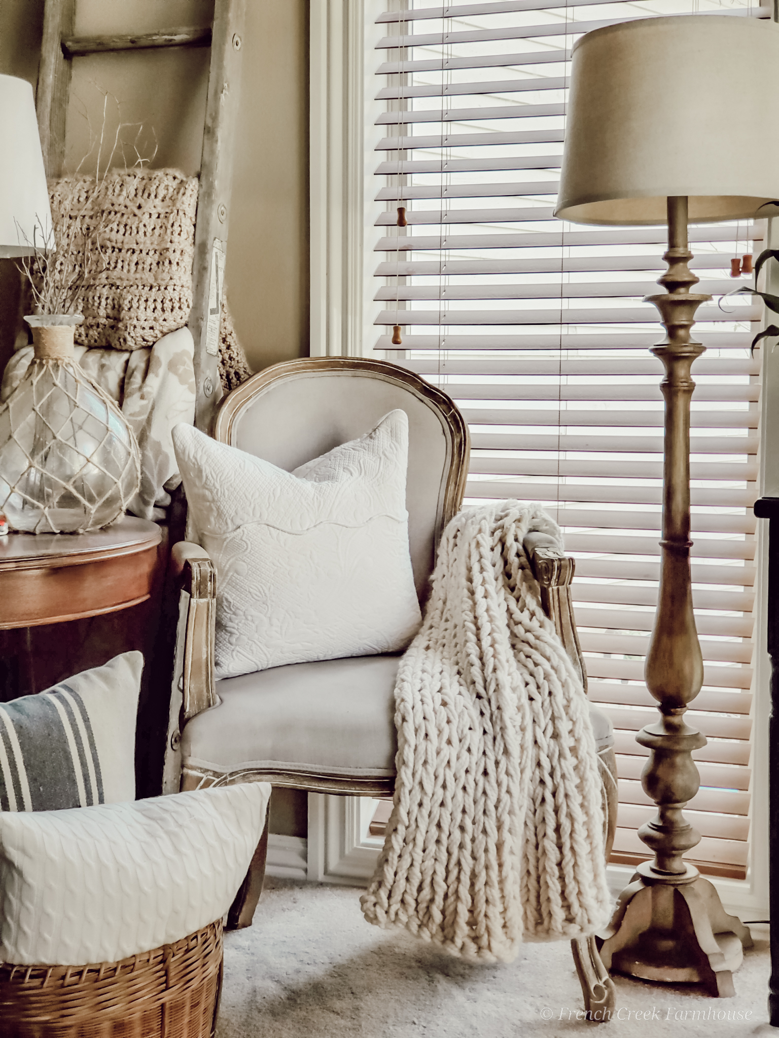 Cozy French provincial chair in farmhouse living room