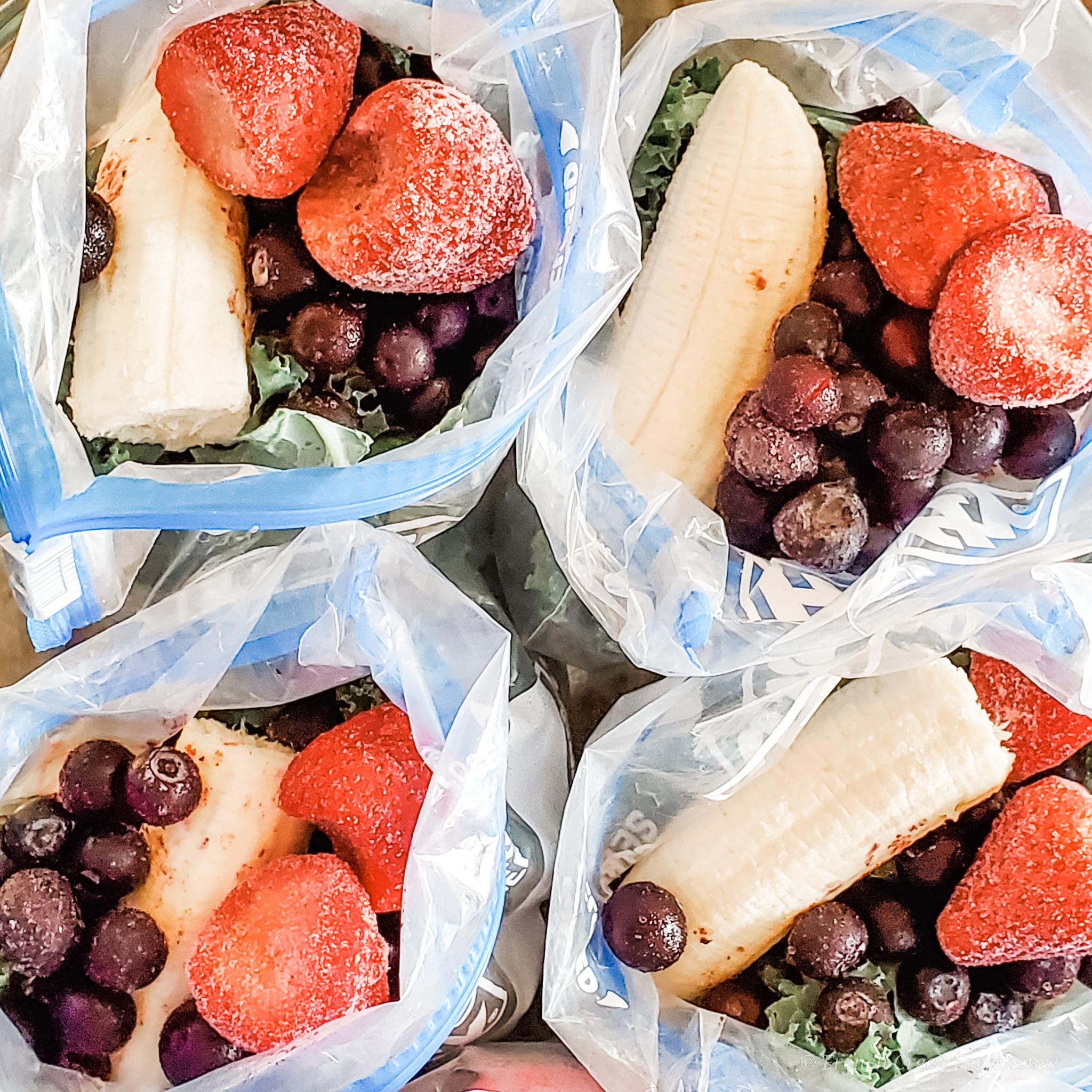 Bags of frozen fruit