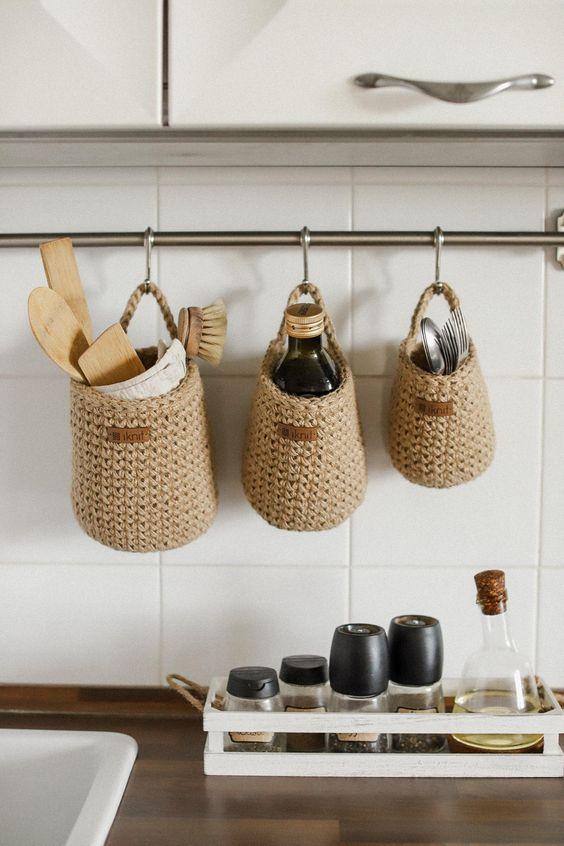 Hanging Storage Baskets in Kitchen