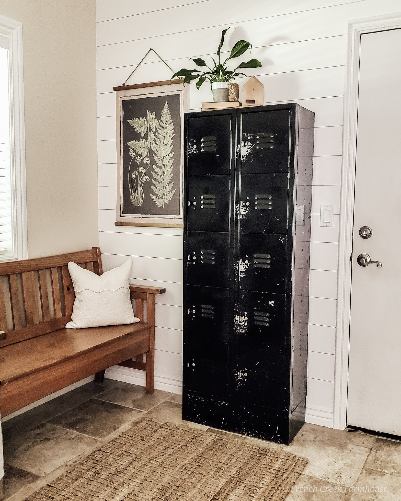 We used simple plywood to create a shiplap-look wall in our mudroom