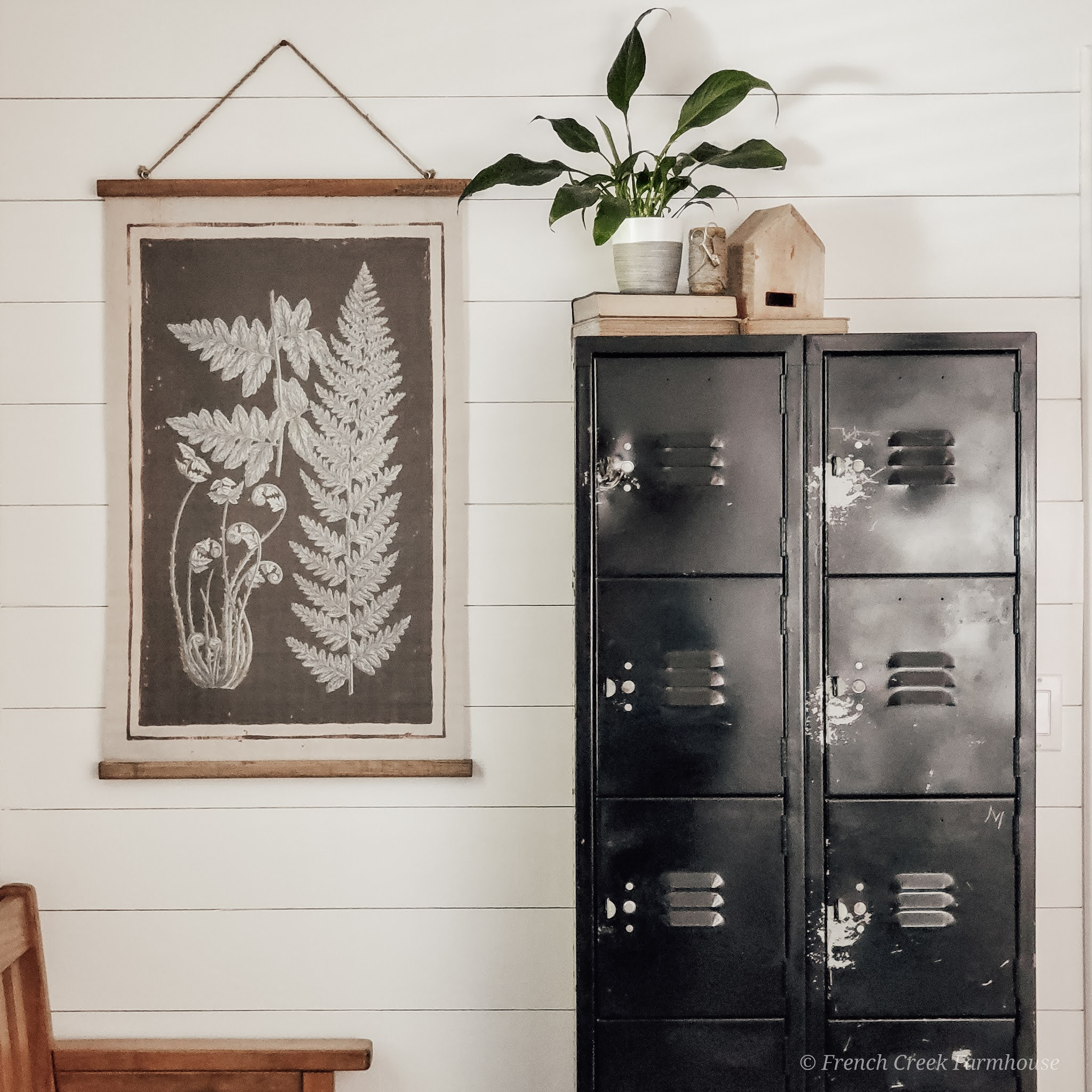 Repurposing vintage lockers provides extra storage in our mudroom