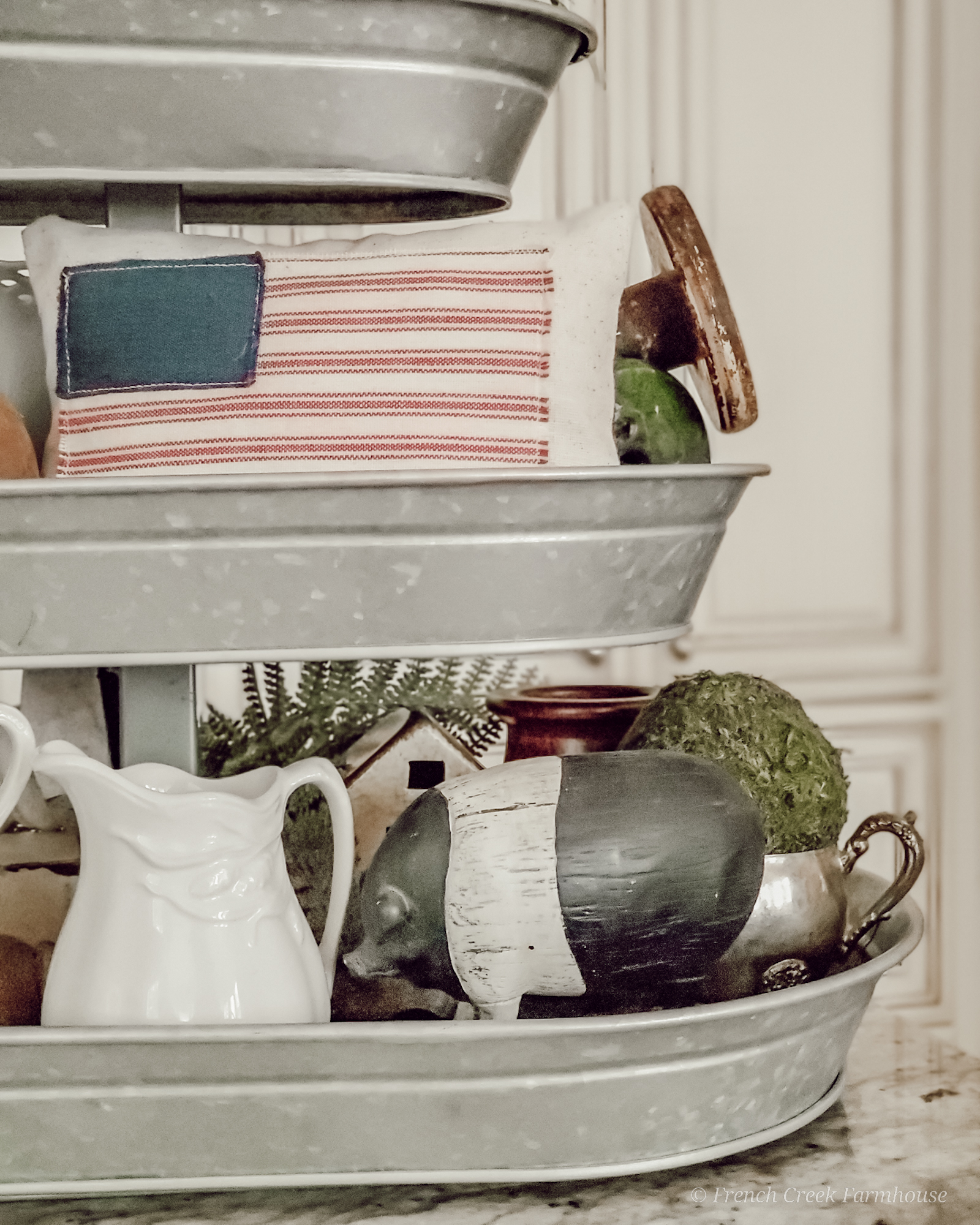 Vintage ironstone pitcher and American flags for 4th of July