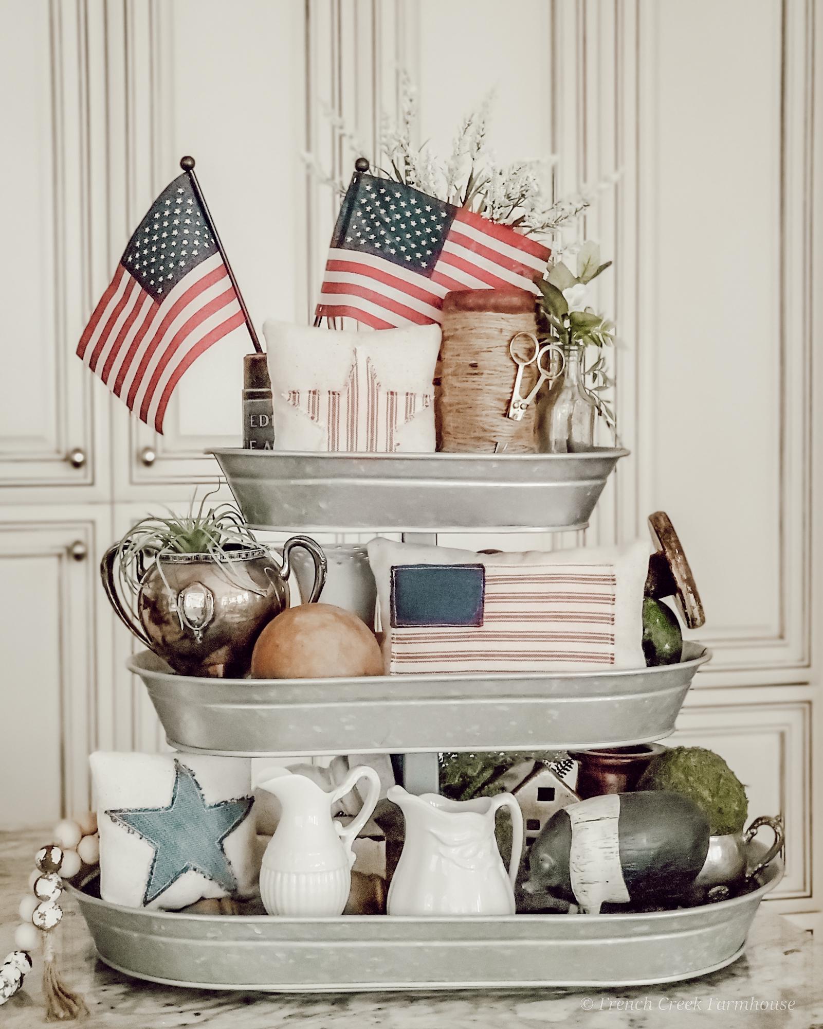 Three-tiered galvanized tray with vintage Americana decor