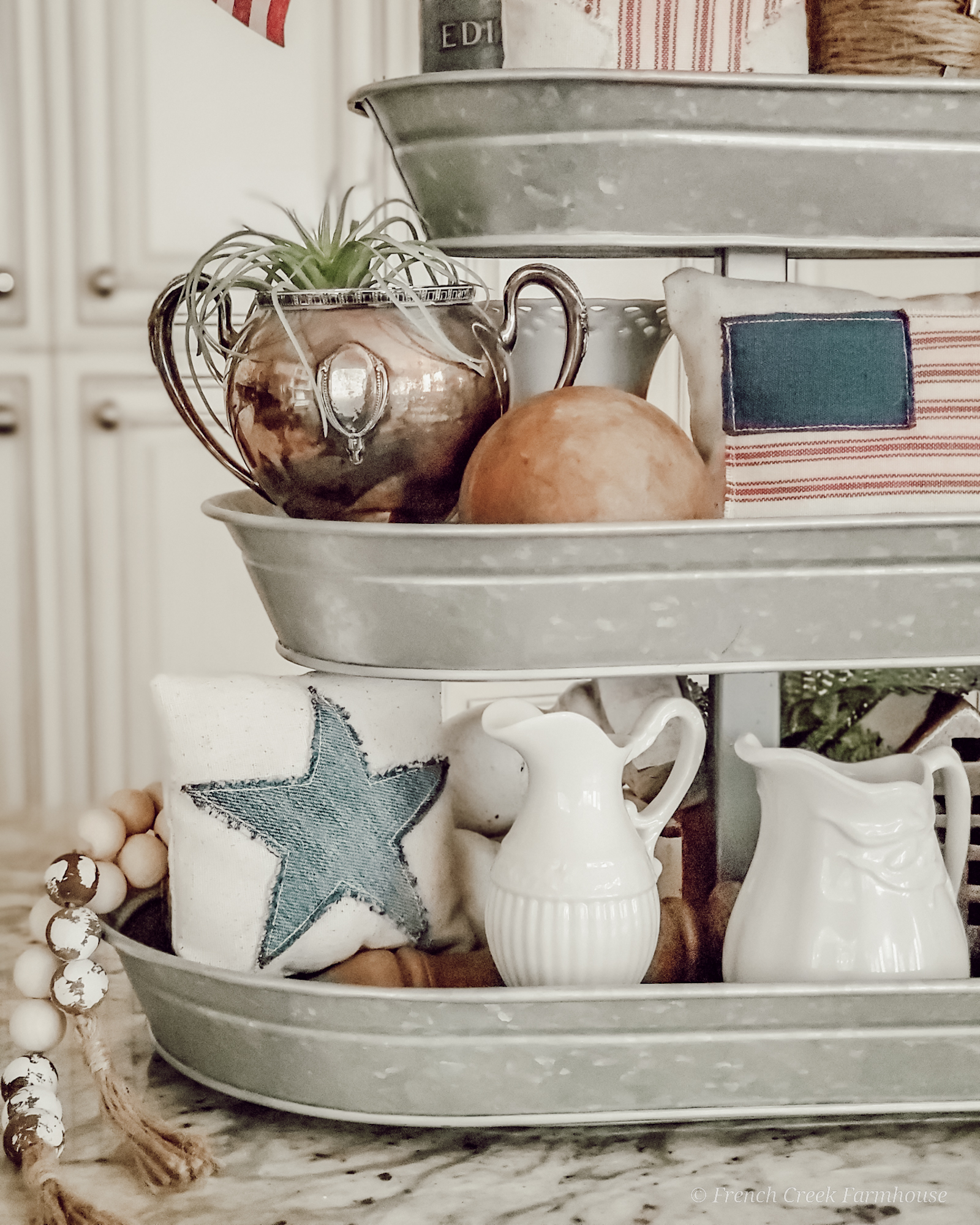 Close up of patriotic tiered tray with ironstone creamers