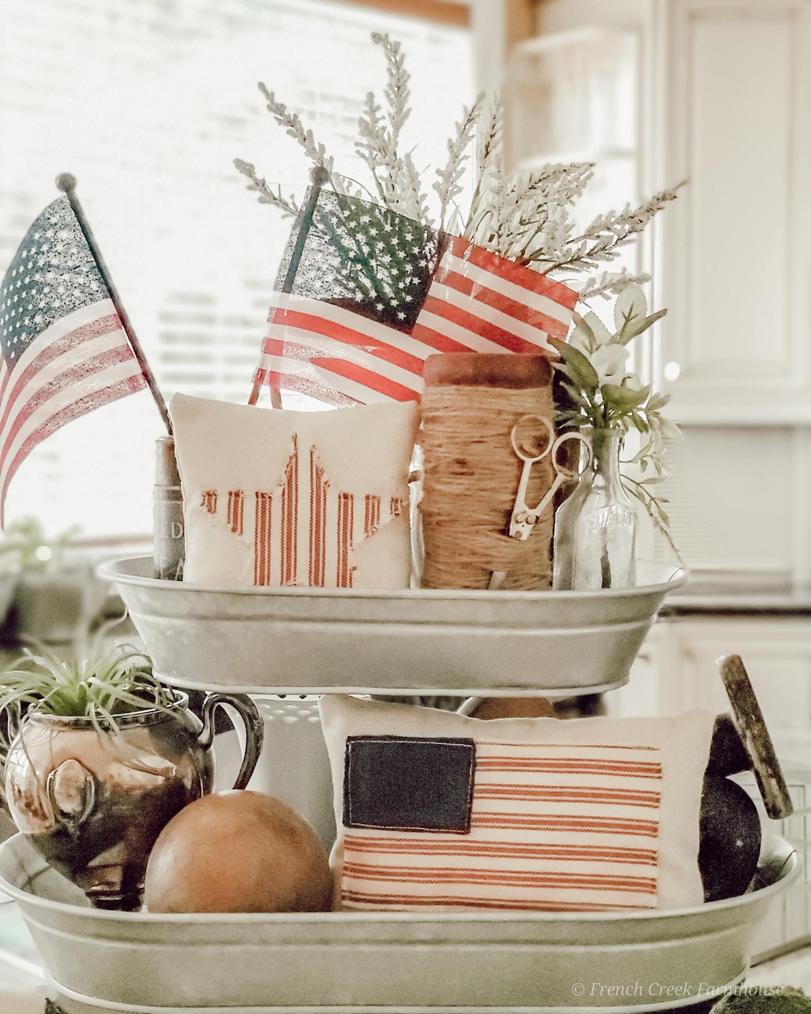 Patriotic vintage decor and American flags