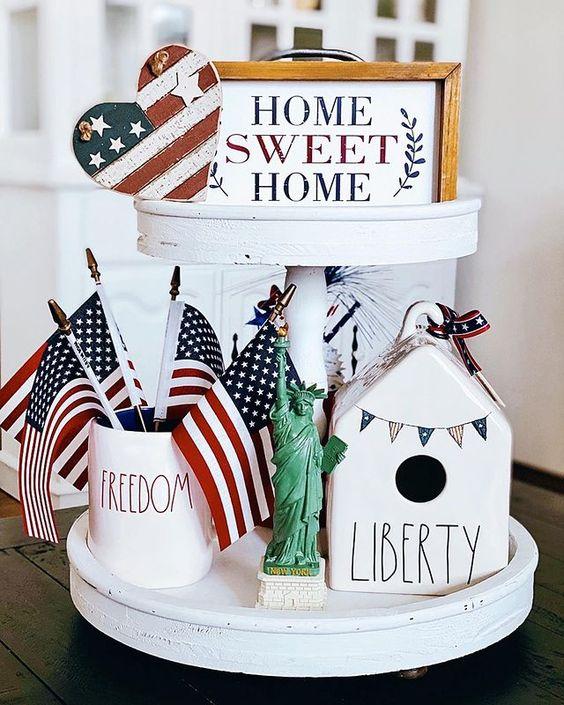 Rae Dunn patriotic tiered tray decor