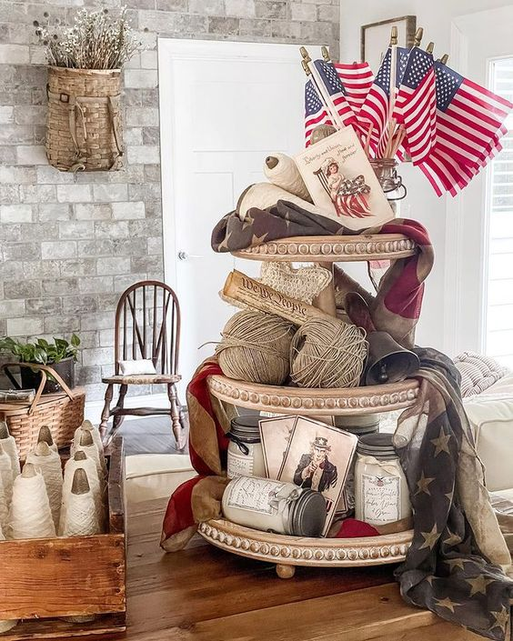 Neutral farmhouse tray for 4th of July